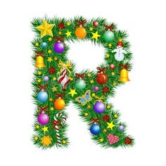 Letter R Christmas tree decoration Alphabet Stock Vector
