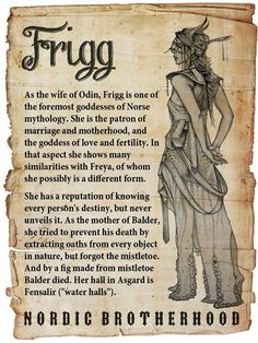 Frigg was at the highest rank in the Aesir goddesses. In other words, she was th… – Norse Mythology-Vikings-Tattoo Norse Goddess, Norse Pagan, Moon Goddess, Goddess Art, Triple Goddess, Wiccan, World Mythology, Celtic Mythology, Greek Mythology