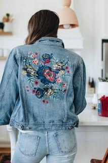 Embroidered denim jacket, a bit edgier Denim Jacket Embroidery, Embroidered Denim Jacket, Embroidered Clothes, Customised Denim Jacket, Painted Denim Jacket, Denim Fashion, Couture, Formal, Denim Jackets