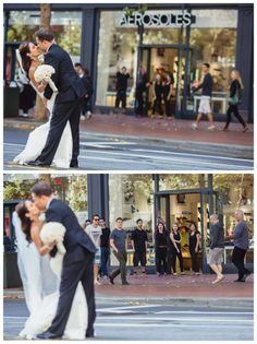Kiss in the street down town while people pass by and look. Marriage: an ultra chic city real wedding - Aphrodite's World