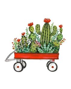 Cactus wall art/ cacti decor/ succulent wall art/ succulent decor/ red wagon decor/watercolor cactus/ succulent print/ christmas decor - You are in the right place about Cactus art Here we offer you the most beautiful pictures about th - Decoration Cactus, Decoration Plante, Succulent Wall Art, Cactus Wall Art, Cactus Drawing, Watercolor Cactus, Vintage Red Truck Decor, Red Cactus, Cactus Plants