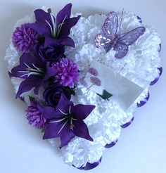 Details about Heart Shaped Silk Artificial Funeral Flowers Wreath/Memorial/Grave Tribute Grave Flowers, Cemetery Flowers, Funeral Flowers, Silk Flowers, Funeral Floral Arrangements, Flower Arrangements, Wreaths For Funerals, Funeral Sprays, Cemetery Decorations