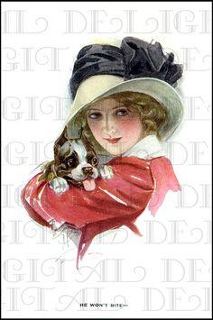 Pretty EDWARDIAN Lady and Her Cute Dog. by DandDDigitalDelights