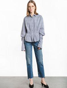 Plaid Tucked Long Sleeve Shirt