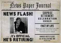 Newspaper themed #retirement_party_invitations