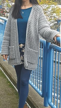 """This simple, oversized cardigan is the perfect casual cardigan to wear in cooler weather. Very easy and quick to crochet featuring rows of x-stitch and double crochet that gives the cardi its textured look. It is crocheted in one piece from side to side with minimal shaping at the sleeves. Pattern is written row by row with 2 options of Edging and Pockets: Simple and Ribbed. Make one of each to give you a slightly different look! Sizes ( Bust ) S/M : 44"""" L: 48"""" XL: 52"""" XXL..."""
