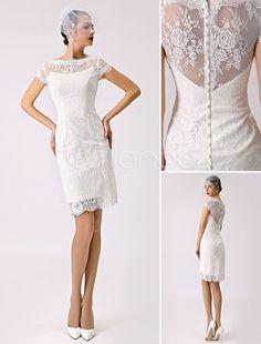 Schönes Etui-Brautkleid Spitze in Elfenbeinfarbe Hochzeitskleid Kurz Standesamtkleid Milanoo