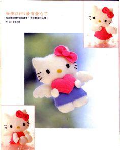 Hello Kitty en esta ocasión se viste de angelito. Para comersela. A continuación, el molde para su realización en fieltro.
