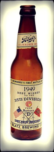 """Harry Truman Souvenir Beer Bottle  Commemorating President Truman's World War I artillery unit, """"Battery D,"""" this Blatz beer was bottled in 1949. Truman was a member of the 35th Division, the National Guard formation made up of units from Missouri."""