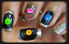 """nail art """"disco"""" Jeff would love this! Haha"""