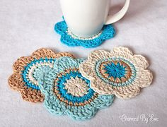 Flower Coasters - Face Scrubbies - Bunting by Janaya Chouinard I decided to start using up some of the cotton I've got stowed away in my stash and thought some cute flower coasters were a good way to start. However, this pattern is extremely versatile and could be used for face scrubbers, dish cloths or even some cute photography bunting props. I used Lily Sugar 'n Cream in jute, ecru, hot blue and robin's egg and love the way the colors complement each other.