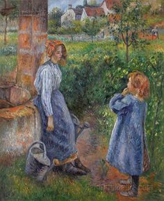 Young Woman and Child at the Well by Camille Pissarro