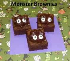 Monster Halloween Brownies by Erin We made a 9×13 pan of brownies.  You can make them from scratch or use a box.  We chose to use a box.  I also baked them in my Perfect Brownie Pan