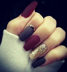 11 Trendy Easy Nail Art Ideas: #1. Navy, Purple and Gold