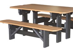 5' Park Bench/Picnic Table. This Poly Furniture is shown in Cedar on Black, but is available in 12 different colors.Herron's Amish Okalona,OH