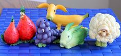 Cute Produce Figurines from Home Grown Foods company—also makes a cabbage puppy, mushroom lion, carrot goldfish, parsnip giraffe, cantaloupe turtle, kiwi koala…