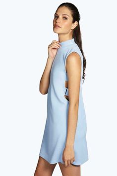 #FashionVault #Boohoo #Sale #Women - Check this : boohoo Callie High Neck Buckle Cut Out Shift Dress - cornflower for $32 USD instead of $16 #OnSale