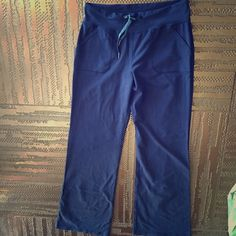 "LULULEMON YOGA PANTS Drawstring with Front Pockets - nice stretch & great material. Tag was cut out but stretches for size Large -X-L. Inseam 34"". Dark Deep Blue. Great condition. Has the LULULEMON trademark. lululemon athletica Pants"