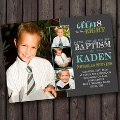 baptism invitation, its great to be eight invitation Lds Baptism Ideas, Baptism Photos, Boy Baptism, Baptism Invitation For Boys, Baptism Invitations, Invitation Ideas, Baptism Announcement, Baptism Photography, Mermaid Party Favors
