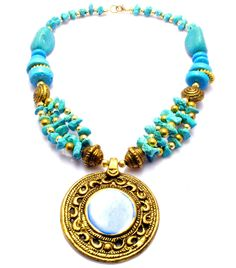 ARTISAN HANDCRAFTED GOLD TONE PENDANT TURQUOISE BLUE COLOR CLAY BEADS NECKLACE #Handmade #Pendant