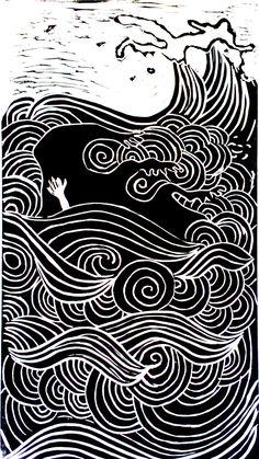 Image result for Wave patterns linocut