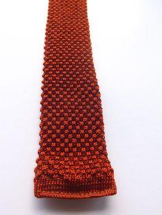 Vintage 1950/60s KNITTED SKINNY NECK TIE SHORT Burnt Orange MOD SCOOTER FREE P&P #NeckTie