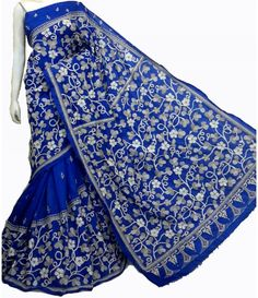 Blue Silk Kantha Stitch Saree-----------These kantha embroidered sarees are excellent example of fine craftsmanship and adored by woman of all era. Sarees from luxurionworld.com