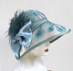 Elaborate Beaded Wide Brimmed Summer Edwardian Cloche Hat