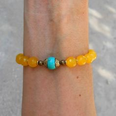 Bracelets - Joy, Genuine Faceted Yellow Jade Gemstone Mala Bracelet With Tibetan Capped Turquoise Guru Bead