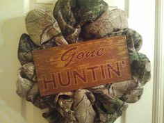 Burlap Camo Wreath with Metal Sign by CraftyGirlBowtique on Etsy, $38.00