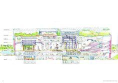 Taichung Metropolitan Opera House by Toyo Ito Conceptual Architecture, Library Architecture, Facade Architecture, Toyo Ito, Architectural Floor Plans, Architectural Section, Section Drawing, Metropolitan Opera, House Drawing
