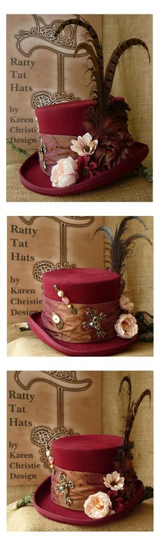 Ladies Steampunk Top Hat - The Madagascar. OOAK handmade burgundy top hat currently available from website £95.00 + P&P