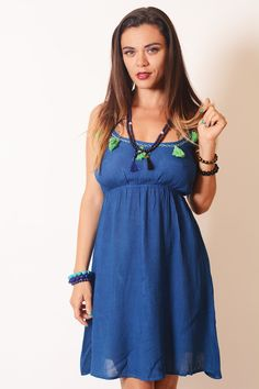 Kiss the Sun Tassels Mini Dress - Indigo