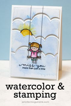 Watercolor + Stamping Video by Jennifer McGuire video shares some tips and tricks for using watercolor with stamping and die cutting. Watercolor Cards, Watercolor Video, Watercolour, Elephant Watercolor, Love Card, Mama Elephant Stamps, Jennifer Mcguire Ink, Card Tricks, Beautiful Handmade Cards