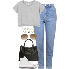 A fashion look from September 2015 featuring Monki t-shirts, Topshop jeans and Converse sneakers. Browse and shop related looks.