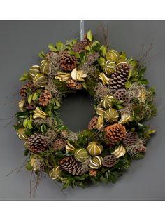 Winter Forest Wreath - This stunning wreath uses dried . Christmas Mesh Wreaths, Burlap Christmas, Christmas Tree Ornaments, Winter Wreaths, Christmas Flowers, Monogram Wreath, Diy Wreath, Christmas Reef, Gnomes