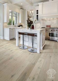 white oak hardwood floors From our Au Naturelle Co - flooring Wood Like Tile Flooring, Wood Look Tile Floor, Hardwood Floor Colors, Light Hardwood Floors, Wood Floor Kitchen, White Oak Floors, Engineered Hardwood Flooring, Kitchen Flooring, Modern Wood Floors