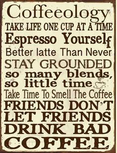 Find Fun, Unique Coffee Kitchen Decor Ideas With A Cute Coffeeology, Metal  Wall Sign (Made In USA) Featuring Funny Quotes For Coffee Lovers