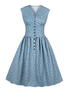 Women summer vintage dress floral print v-neck sleeveless pin up vestidos button fly evening party rockabilly retro dress Source by Dresses Vestidos Vintage, Vintage Dresses, Floral Dresses, Midi Dresses, Printed Dresses, Sleeve Dresses, Dress Outfits, Debut Dresses, Casual Dresses