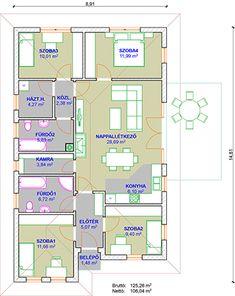 Hanna könnyűszerkezetes ház alaprajza Home Interior Design, Tiny House, House Plans, Floor Plans, Flooring, How To Plan, Tiny Houses, Wood Flooring, Interior Design
