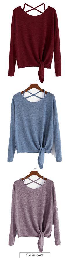 Drop Shoulder Criss Cross Tie Front T-Shirt
