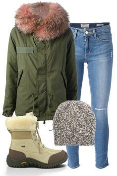 "Mr and Mrs Furs Army Parka, $5,576.89; farfetch.com Frame ""Le Skinny de Jeanne"" Jeans, $262.22; farfetch.com Ugg Adirondack Boot II, $240; uggaustralia.com Sunghee Bang Beanie, $195; barneys.com   - ELLE.com"