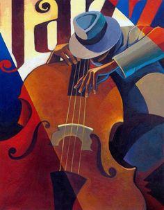 Straight Ahead Canvas Art - Keith Mallett x African American Art, African Art, Black Art, Scrapbooking Image, Jazz Painting, Pop Art, Jazz Poster, Print Poster, Jazz Art