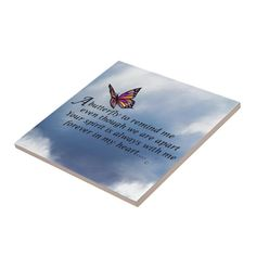 Butterfly Memorial Poem Tile   Zazzle.com Easy Baby Back Ribs Recipe, Memorial Poems, My Forever, Love Poems, Office Gifts, Tile, Butterfly, Memories, Holiday