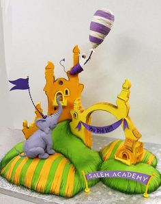 They needed something for a graduation so we began to bake. The style and feel of Seuss was our design for the cake. An elephant, a grad and an elephant. Beautiful Cakes, Amazing Cakes, Dr Suess Cakes, Promotion Party, Crazy Cakes, Disney Cakes, Cupcake Cookies, Cupcakes, Edible Art