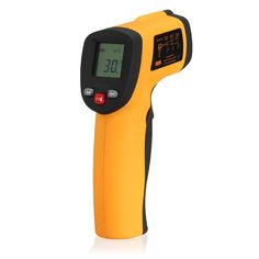 Descriptions :    GM550 Non-Contact Digital IR Laser Infrared Temperature Meter Gun Thermometer Tester -50-550℃        Lightweight and compact. Simple One-Handed operation. Celsius and Fahrenheit switchable.  TR sight allows accurate targeting.   Laser sight allows accurate targeting.  Simply point to an object and read its temperature.  Precise non-contact IR thermometer, safe and easy to use.  Laser on/ off switch, 7 seconds auto power off & temperature data hold.  Consi
