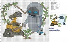 Wall E and Eve cross stitch pattern