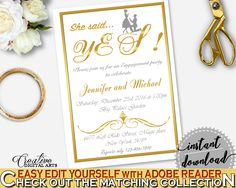 Gold Frame Bridal Shower She Said Yes Invitation Editable in Gold And White, shower invite, white gold bridal, bridal shower idea - G2ZNX #bridalshower #bride-to-be #bridetobe
