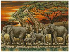 Африканский закат - Животные Африки - Животные - Схемы в XSD - Кладовочка схем - вышивка крестиком