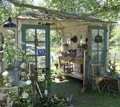 potting shed made from old doors....